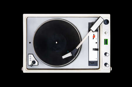 The old Soviet vinyl player isolated on black background. turntable Reklamní fotografie