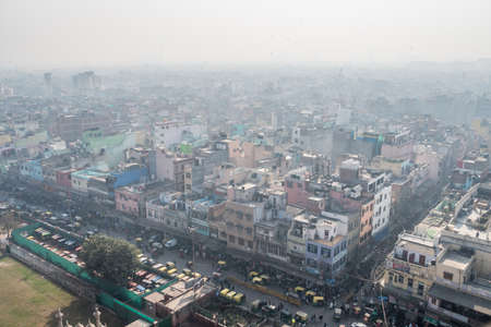 The streets of old Delhi. The view from the top. Dense construction of urban agglomeration in the overpopulated city.