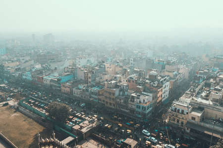 Delhi, India. View of Old Delhi from Jama Masjid minaret. An overly-built and populated capital has its affects on air pollution, especially during summer.