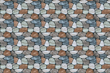 Seamless texture of rounded multi-colored marble stones. Stone wall finish with rounded edges