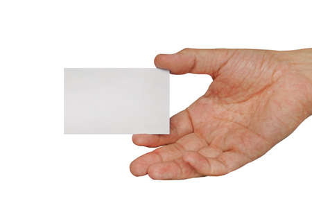 Male hand holding business card. White business card in male hand isolated on white background