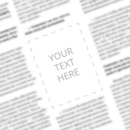 Close up of a blurred newspaper column with blank square in the middle for designer mockup. Angled view to the written words Your Text Here on the paper page background. Space for typing in newspaper Reklamní fotografie