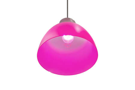 Isolated pink pendant lamp or light graphic. Lamp isolated on white background. Decorative bright lampshade