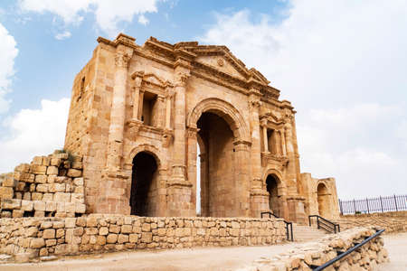 The Arch of Hadrian in Jerash, Jordan is an 11-metre high triple-arched gateway erected to honor the visit of Roman Emperor Hadrian to the city in the winter of 129-130