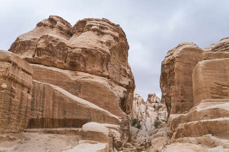View of rocks in Petra, Jordan. Canyon between the rocks, bottom view. Nature of the middle East. 版權商用圖片