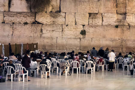 Women Prayers near The Wailing Wall, Western Wall a Passover on the women's gallery.