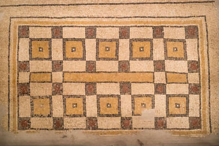 Ancient byzantine natural stone tile mosaics with with geometric patterns, Mount Nebo, Jordan, Middle East