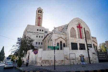 Catholic Church against the blue sky. Amman, Jordan. 27 October 2018