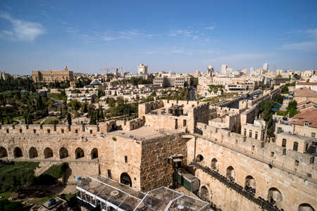 Tower of David is so named because Byzantine Christians believed the site to be the palace of King David. The current structure dates from the 1600s. Jerusalem, Israel.