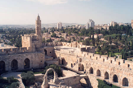 Tower of David is so named because Byzantine Christians believed the site to be the palace of King David. The current structure dates from the 1600's. Jerusalem, Israel. Reklamní fotografie - 119564494