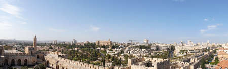 Panoramic view of the city of modern Jerusalem from the old city