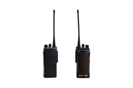 Portable radio transmitter on a white background, with clipping path transmitter, radio, portable set, portable radio set, portable radio transmitter, walkie talkie, Stock Photo