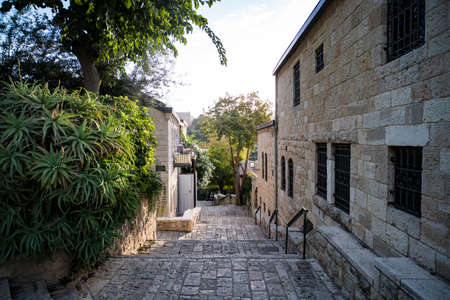 Some vintage lane of a picturesque middle eastern town. Regular life of an old european township. Narrow street with stone buildings and green trees. Old city street stairs leading down at fine day