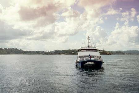 Big catamaran ship fucking transporting passengers between Islands on Andaman and Nicobar Islands. port Blair. India. copyspace, copy space