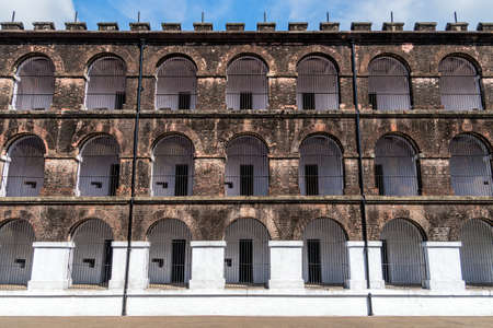 Side view of one of the wings in the Port Blair Cellular Jail, Andaman and Nicobar Islands, India. facade of the main building