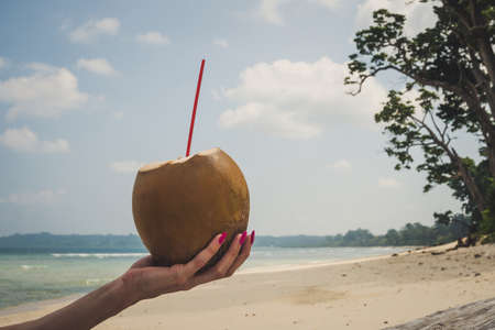 Fresh coconut cocktail in han. Female hand with pink nails holding a fresh coconut with coconut milk on the background of the beach and the sea and a cloudy sky on a tropical exotic island