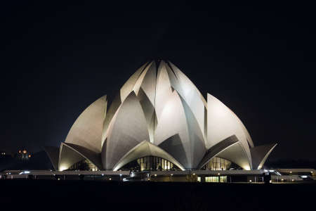 Bahai lotus temple at night in delhi, india. Night time. temple of all religions. multi-faith temple. Stock Photo