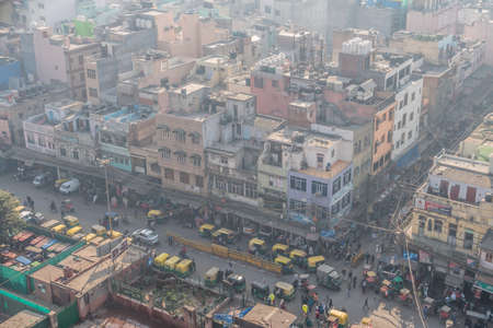 Top view of the city street of old new Delhi. View of Old Delhi from Jama Masjid minaret. 8 January 2018