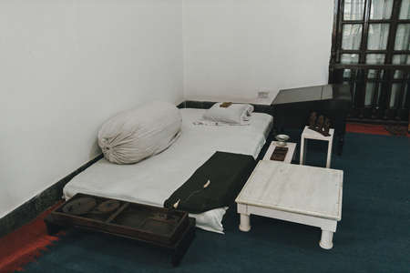 bed-mattress in the room hermit ascetic. Poor living conditions. poverty in India,