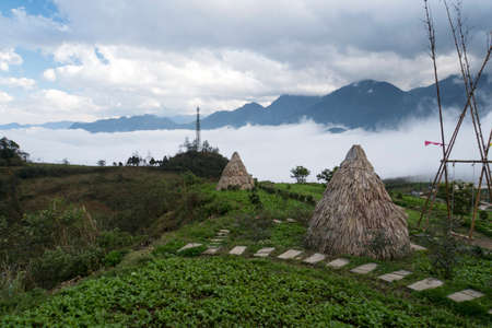 Straw house in hmong village Sapa, Vietnam. Yurt of straw. Traditional village. Ancient culture.