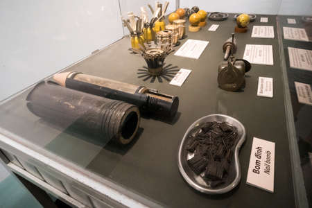 mines and bombs in War Remnants Museum. January 24, 2019. Ho Chi Minh city, Vietnam. Editorial