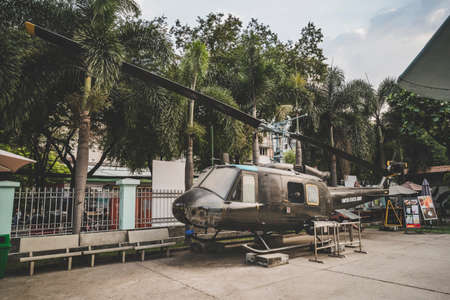 War Remnants Museum military equipment exhibition, Bell UH-1 Iroquois helicopter. January 24, 2019. Ho Chi Minh city, Vietnam.