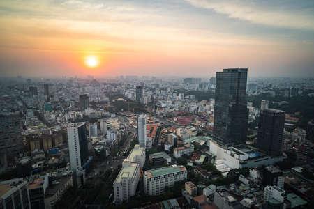 Beautiful evening sunset over the city of Ho Chi Minh city, Vietnam Stock Photo