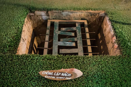 25 January 2019. Ho Chi Minh City, Vietnam: Trap used during Vietnam war at Cu Chi Tunnel Museum.