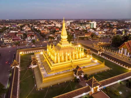 Pha That Luang is a gold-covered large Buddhist stupa and be the most important national monument in Laos and a national symbol. Vientiane, Laos. top view