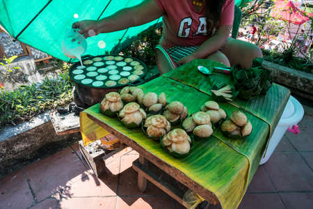 Cooking for Sweet and Savory Grilled Coconut-Rice Hotcakes its for kanom krok but sometimes they use Coconut Rice Cake, Thai coconut pudding too. Thai Traditional Dessert
