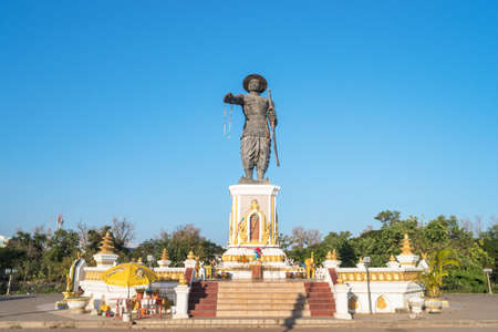 The King Chao Anouvong statue erected in 2010 in a park honoring his name in Vientiane, Laos. Редакционное