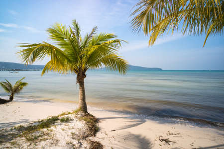 quiet empty paradise beach in koh rong island near sihanoukville cambodia Stock Photo