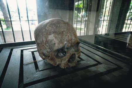 Memorial with skulls in genocide Museum, Phnom Penh