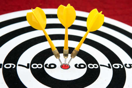 Yellow dart with target arrows , Success or Goal symbol. The game of Darts. Sports target. targeted advertising