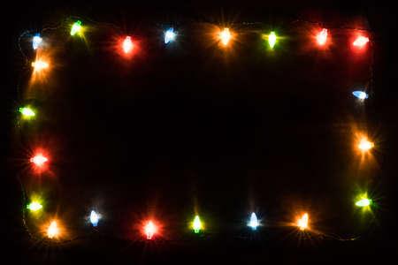 christmas lights frame Stok Fotoğraf