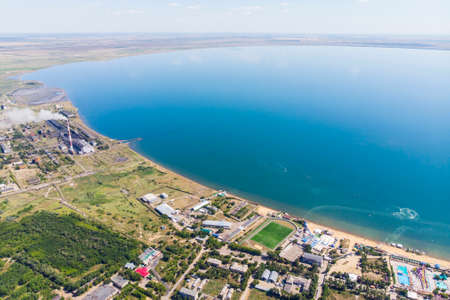 View from the top of the city resort by the salt lake. Aerial view of the city and the lake called yarovoye Foto de archivo - 131307432