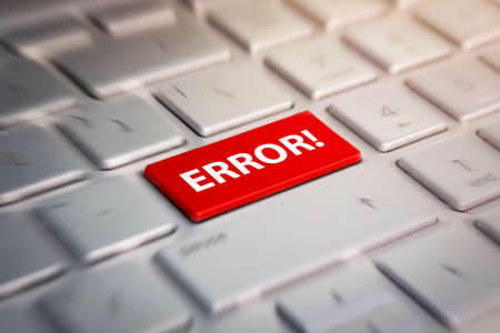 error button on computer keyboard showing internet concept. Red button on keyboard close-up. blurred in motion background.