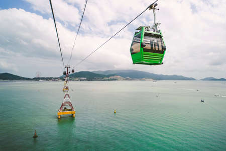 Cable car to amusement park in the morning sunshine to attract tourists to the weekend relaxing in Nha Trang, Vietnam
