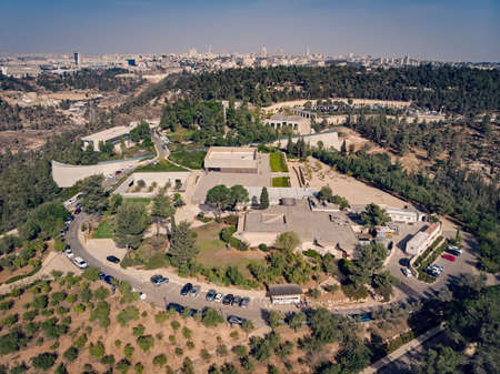 View of the holocaust memorial museum in Jerusalem. Top view of a quadcopter. Yad Vashem on the hillside on the outskirts of Jerusalem. JERUSALEM, ISRAEL. 24 October 2018. Editorial