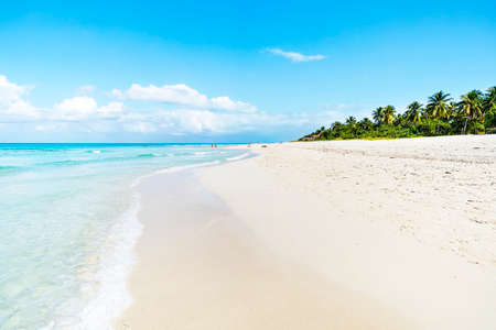 The beautiful cuban beach of Varadero with sailing boats, white sand and cristal clear turquoise water Banco de Imagens