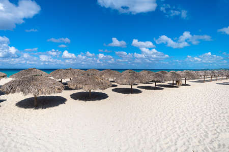 Row of thatched beach umbrellas on a white sand beach in the south country. concept of travel and recreation on an island in the tropics.