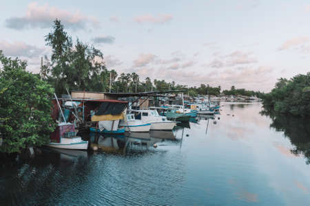 Boats parking in water. Boats docked in river under blue sky and cloudy in summer.
