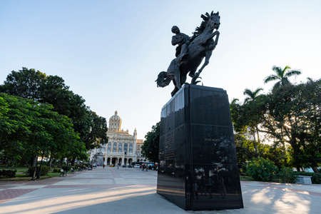 November 27, 2019, Havana, Cuba: Plaza 13 de Marzo and the statue of Jos Marti on horseback in front of the museum of revolution.