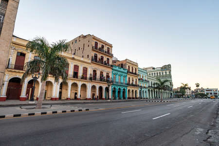 main street Paseo Marti. Marti Promenade in front of iconic old colorful colonial houses in Havana Vieja. Old Havana, Cuba