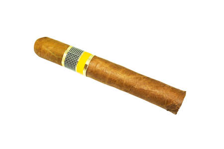 Close-up Cuban Cigar isolated on white Background, Havana brown Cigar