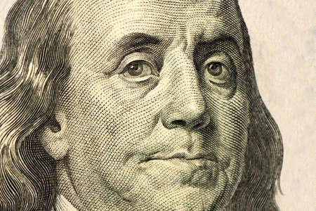 High definition Benjamin Franklin portrait from 100 dollars banknote