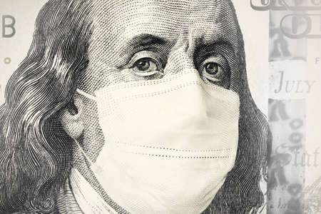 portrait of Benjamin Franklin from a hundred-dollar bill with a closed mouth Face Mask. global financial economic crisis because of the covid-19 coronavirus pandemic 스톡 콘텐츠