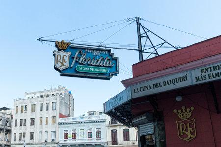 November 27, 2019, Havana, Cuba: The historic Floridita restaurant in Havana. The birthplace of daiquiri, a famous cuban cocktail, El Floridita was a favorite of celebrities like Ernest Hemingway