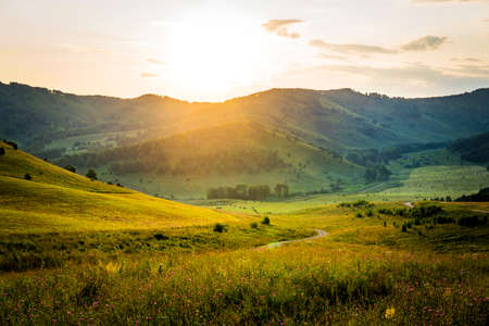 Sunny morning in mountain. Beautiful landscape composition. Sunset over the mountains. Summer landscape in the mountains. Serpentine mountain road