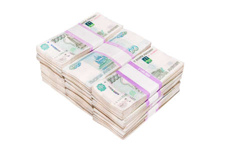 A big wad of money Russian banknotes. million rubles isolated on a white background. Reklamní fotografie